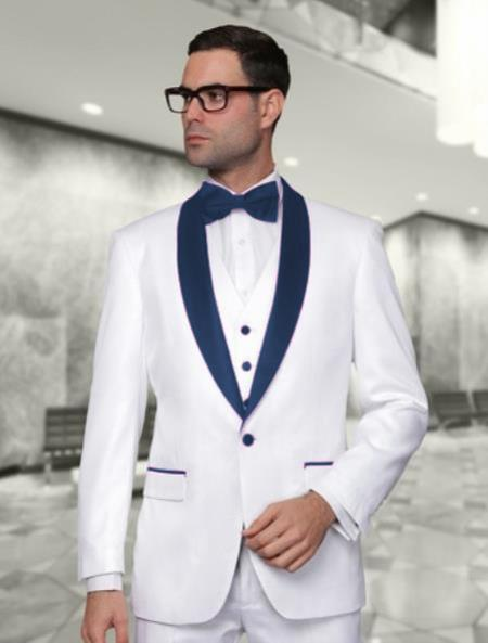 Mens White and Dark Navy Blue Vested Shawl Lapel Tuxedo Wedding / Prom Outfit Fashion Two Toned Suit Jacket & & Vest & Pants