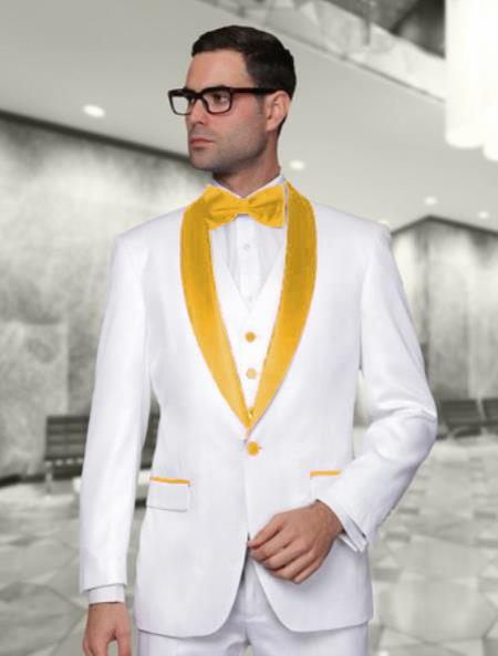 Mens White and Gold Vested Shawl Lapel Tuxedo Wedding / Prom Outfit Fashion Two Toned Suit Jacket & & Vest & Pants