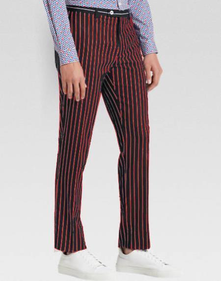 Men's Slacks Red Ganagster Chalk Striped