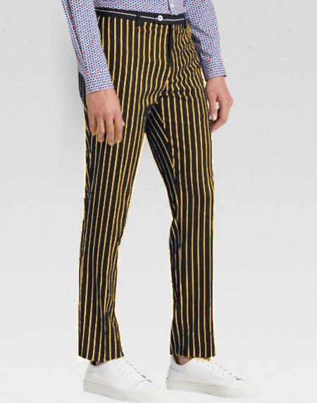 Mens Slacks Black Ganagster Chalk Striped Flat Front Pant