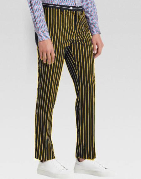 Mens Slacks Mens Tapered Mens Dress Pants Black Ganagster Chalk Striped Slim Fit Suit