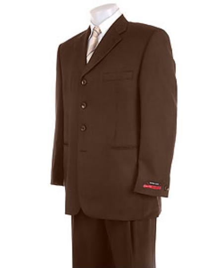Mens Solid Brown 4 Buttons Super Pleated Pants Premier Quality Online Sale Clearance Suit