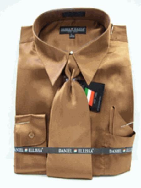 Men/'s Silky Satin Dress Shirt with Matching Tie /& Handkerchief set L.Blue