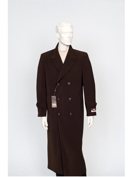 Mens Dress Coat Full Length Maxi Trench Coat Brown