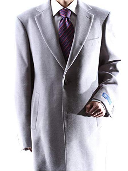 Men's Dress Coat Caravelli  2 Buttons Style Men's Carcoat ~Three Quarter Light Gray Long Men's Dress Topcoat -  Winter coat