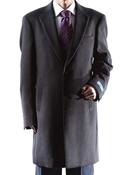 Men's Dress Coat Caravelli Long Jacket  2 Buttons Style Men's Carcoat ~Three Quarter Black Long Men's Dress Topcoat -  Winter coat