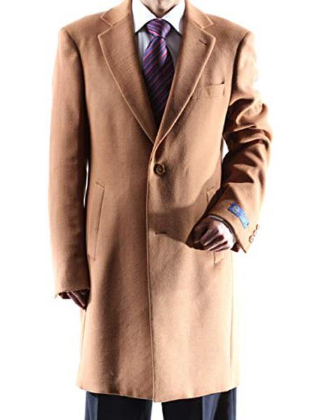 Mens Dress Coat Caravelli Single Breasted   2 Buttons Style Mens Carcoat ~Three Quarter Camel Long Mens Dress Topcoat -  Winter coat Long Jacket