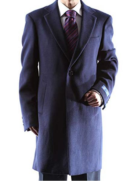 Mens Dress Coat Caravelli Single Breasted Two Button 3/4 Length Navy Topcoat