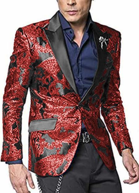 Alberto Nardoni Shiny Jacket Hot Red Tuxeod Dinner Jacket Cheap Priced Blazer Jacket For Men Sport Coat Paisley Floral Pattern Mix Two Toned