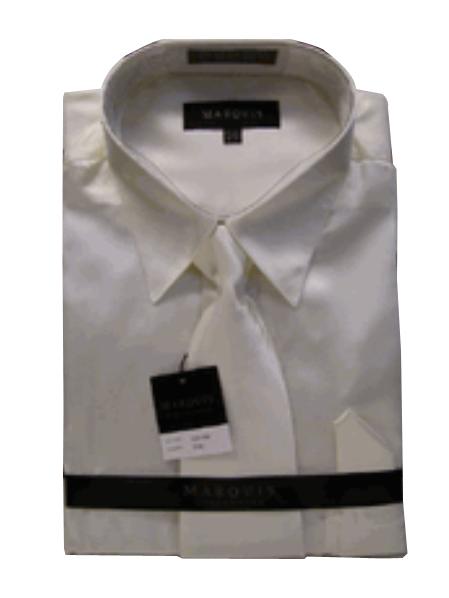 Fashion Cheap Priced Sale Mens New Cream Ivory Satin Dress Shirt Combinations Set Tie Combo Shirts Mens Dress Shirt
