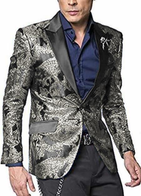 Alberto Nardoni Shiny Jacket Tuxeod Dinner Jacket Blazer Sport Coat Paisley Floral Pattern Mix Two Toned Silver Grey ~ Gray