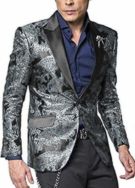 Mens 2 Button Paisley Designed Peak Lapel Grey ~ Gray Silver Black / White Sport Coat Blaz