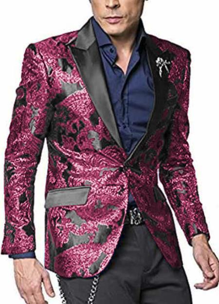 Alberto Nardoni Shiny Jacket Tuxeod Dinner Jacket Blazer Sport Coat Paisley Floral Pattern Mix Two Toned Hot Pink ~ Fuchsia