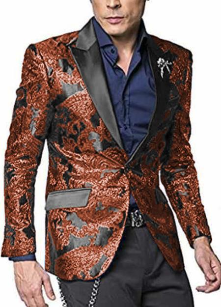 Alberto Nardoni Shiny Jacket Hot Burn Tuxeod Dinner Jacket Blazer Sport Coat Paisley Floral Pattern Mix Two Toned Orange ~ Rust ~ Copper Paisley Blazer