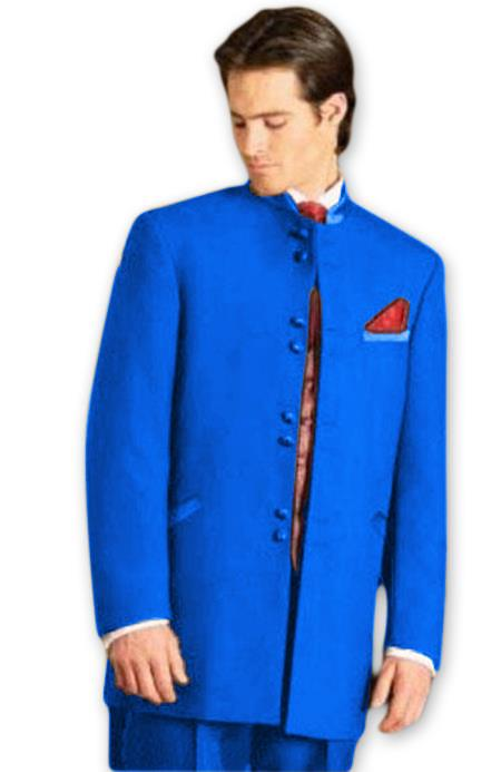 Mens Mandarin Tuxedo Single Breasted Royal Blue Dress Suits for Men