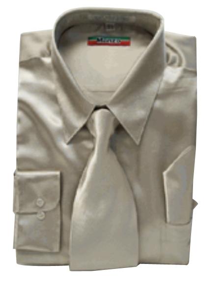 Fashion Cheap Priced Sale Mens New Mezzo Khaki Satin Dress Shirt Combinations Set Tie Combo Shirts Mens Dress Shirt