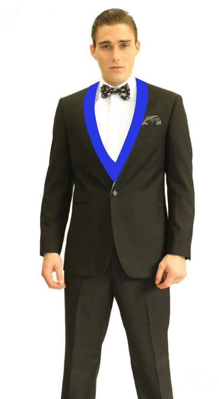 Black and Royal Blue Lapel Vested Tuxedo 3 Piece Suits By Alberto Nardoni
