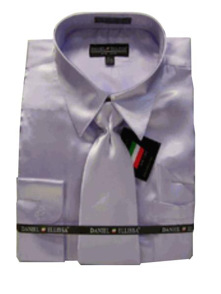Fashion Cheap Priced Sale Mens New Lavender Satin Dress Shirt Combinations Set Tie Combo Shirts Mens Dress Shirt