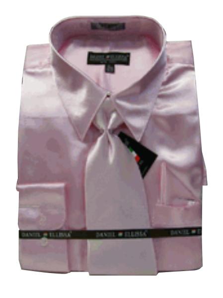 Fashion Cheap Priced Sale Mens New Pink Satin Dress Shirt Combinations Set Tie Combo Shirts Mens Dress Shirt