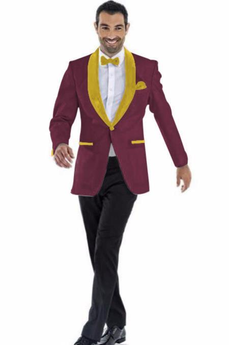 Mens Blazer Burgundy ~ Gold Two Toned Tuxedo Dinner Jacket Perfect For Prom Wedding & Groom