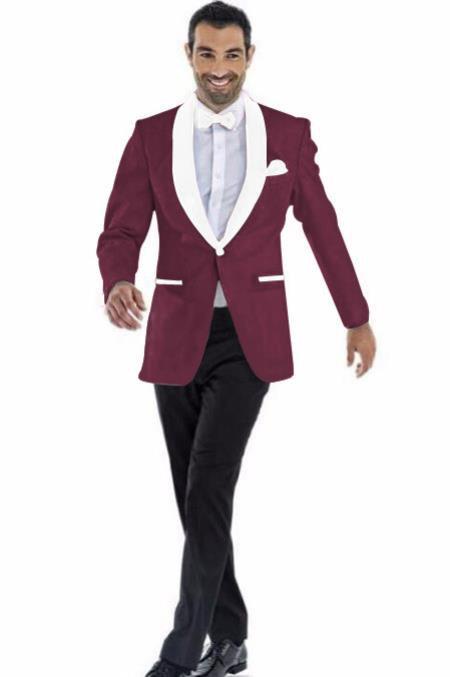 Mens Blazer Burgundy and White Two Toned Tuxedo Dinner Jacket Perfect For Prom Wedding & Groom