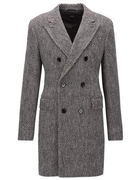 DBCoat Men's Dress Coat Double Breasted Gray Herringbone Tweed Six Button Overcoat