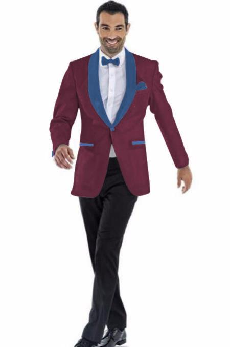 Mens Blazer Burgundy ~ Navy Two Toned Tuxedo Dinner Jacket Perfect For Prom Wedding & Groom