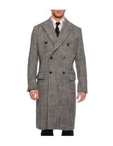 DBCoat Men's Dress Coat Double Breasted Black ~ White Six Button Gray Herringbone Tweed Overcoat Full length