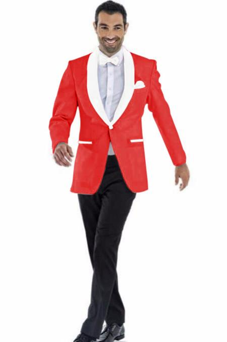 Mens Cheap Priced Blazer Jacket For Men Red ~ White Two Toned Tuxedo Dinner Jacket Perfect For Prom Wedding & Groom