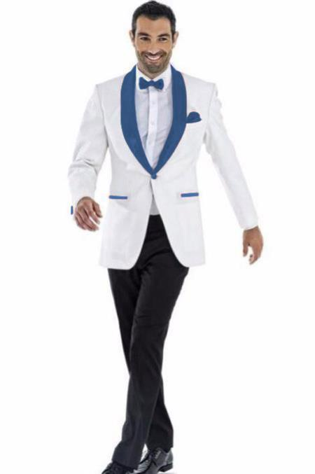 Mens Blazer White ~ Navy Two Toned Tuxedo Dinner Jacket Perfect For Prom Wedding & Groom