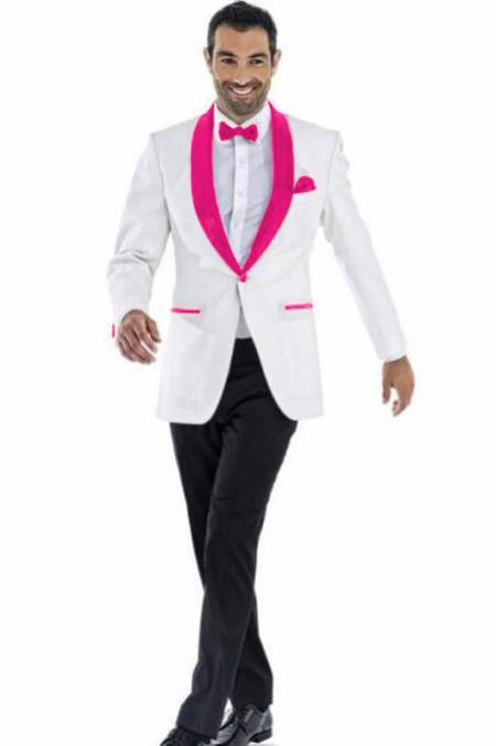 Men's Blazer White ~ Fuschia Two Toned Tuxedo Dinner Jacket Perfect For Prom Wedding & Groom