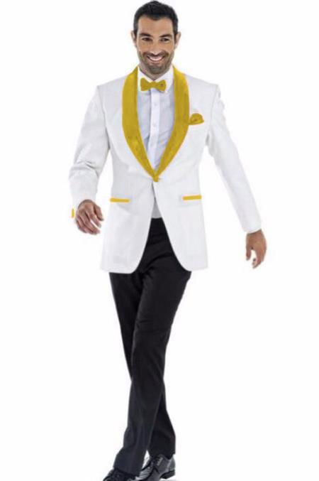 Mens Blazer White ~ Gold Two Toned Tuxedo Dinner Jacket Perfect For Prom Wedding & Groom