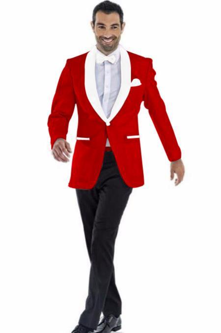 Men's Cheap Priced Blazer Jacket For Men Dark Red ~ White Two Toned Tuxedo Dinner Jacket Perfect For Prom Wedding & Groom  - Red Tuxedo