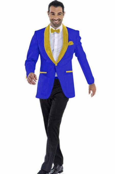 Mens Blazer Dark Royal ~ Gold Two Toned Tuxedo Dinner Jacket Perfect For Prom Wedding & Groom