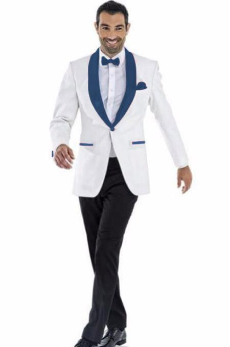 Mens Blazer White ~ Dark Navy Two Toned Tuxedo Dinner Jacket Perfect For Prom Wedding & Groom