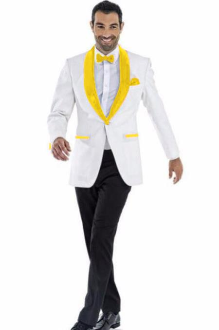 Mens Blazer White ~ Bright Gold Two Toned Tuxedo Dinner Jacket Perfect For Prom Wedding & Groom
