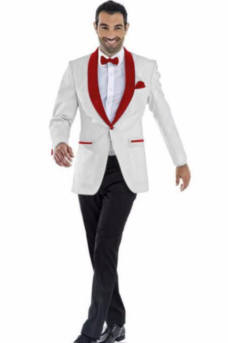Mens Blazer Off White ~ Maroon Two Toned Tuxedo Dinner Jacket Perfect For Prom Wedding & Groom