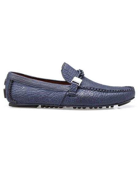Mens  Brand Blue Calf ~ Leather Slip On Authentic Genuine Skin Italian Tennis Shoes