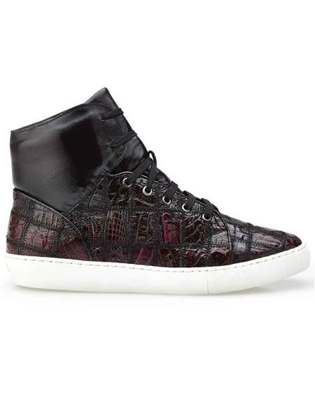 Mens Authentic Burgundy Crocodile Patch Work Lace Up Authentic Genuine Skin Italian Tennis Dress Sneaker Shoes