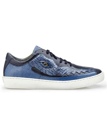Mens Authentic Lace Up Jean Crocodile Navy ~ Blue belvedere Tennis Sneaker Shoes