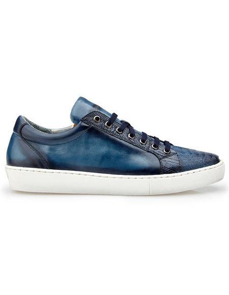 Men's Authentic Blue Lace Up Ostrich Authentic Genuine Skin Italian Tennis Dress Sneaker Shoes