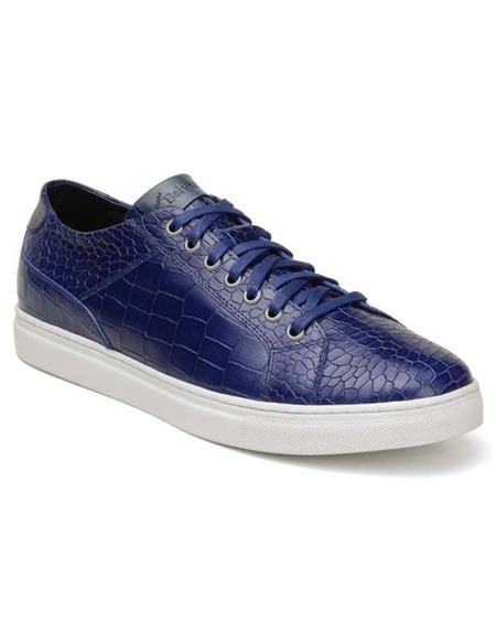 Mens Authentic Blue Lace Up Authentic Genuine Skin Italian Tennis Dress Sneaker Shoes