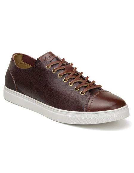 Mens Burg  Cognac Authentic Italian Tennis Shoes