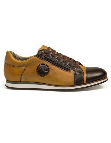 Mens Authentic Genuine Skin Italian Tennis Dress Sneaker Brown Lace Up Calf ~ Leather Shoe