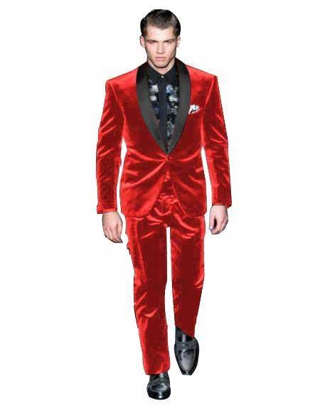 Mens Red Color Tuxedo Shawl Black Lapel Velvet Wedding Party Dinner - Red Tuxedo