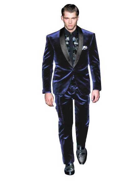 Mens Navy Blue Color Tuxedo Shawl Black Lapel Velvet Wedding Party Dinner