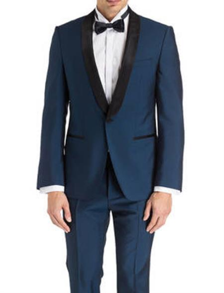 Mens Keith Black Shawl Lapel Navy Blue Tuxedo