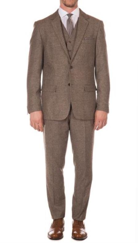 Mens Ferrecci York Brown Slim Fit 3pc Herringbone Suit