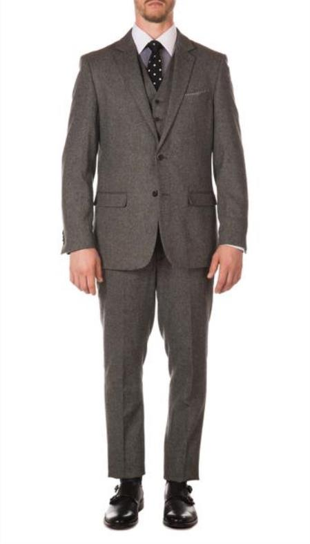 Mens Ferrecci York Grey Slim Fit 3pc Herringbone Suit