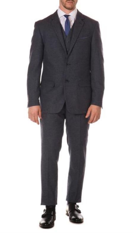 Mens Ferrecci York Dark Navy Slim Fit 3pc Herringbone Suit